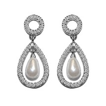 New Pave Halo Cubic Zirconia Open Teardrop Pearl Dangle Earrings  28 Mm  Bridal - $44.54