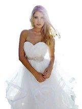 Fanmu Sweetheart Beading Waist Organza Wedding Bridal Dresses White US 4 - $179.99