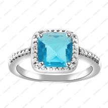 2.21 ct Blue Topaz cushion cut solitaire with Accents 925 Sterling Silver Ring - $67.24