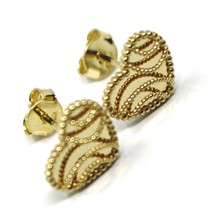 18K YELLOW GOLD BOTTON HEART EARRINGS 10 MM, DOUBLE LAYER FINELY WORKED MIRROR image 2