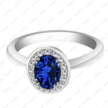 White GP 925 sterling silver 0.80 CT Oval Blue Sapphire & CZ Engagement Ring - $65.99