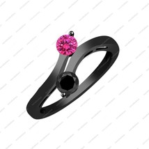 925 Sterling Silver black Rhodium over 0.50 ct Black & Pink Sapphire Ring  - $80.00