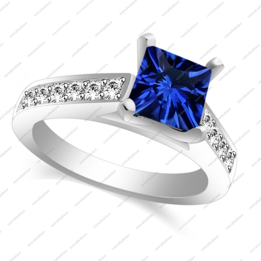 Solid 925 Silver 2.00 CT Blue Sapphire Engagement Solitaire With Accents Ring 7