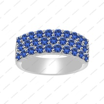 Round Cut 2.00 ct Blue Sapphire Anniversary Band in 925 Sterling Silver - $86.99