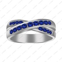14k White Gold Plated Sterling Silver Blue Sapphire Wedding Criss -Cross Ring - $86.99
