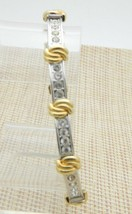 Clear CZ Rhinestone Knot Tennis Bracelet Vintage Gold Silver Tone - $19.80