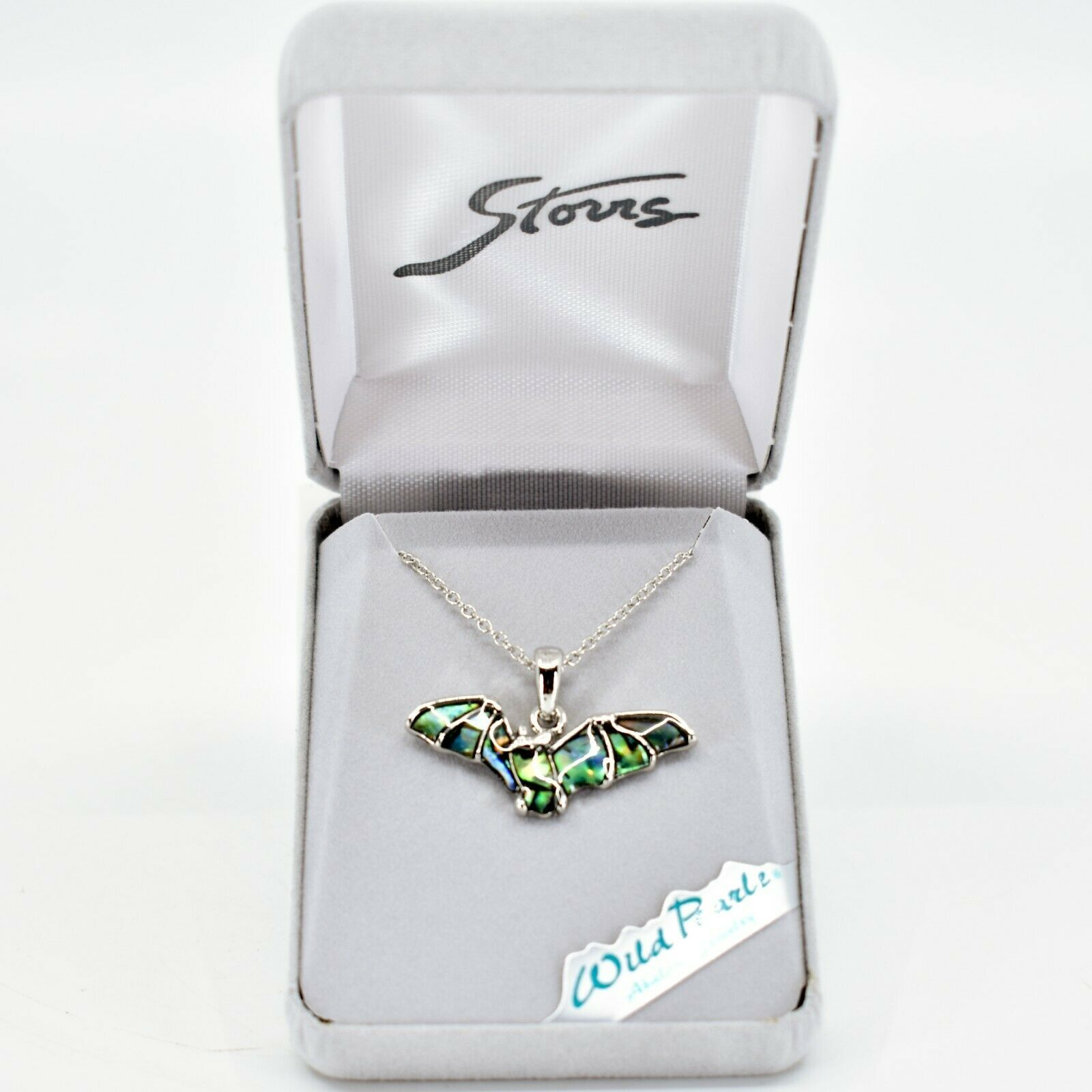 Storrs Wild Pearle Abalone Shell Flying Bat Pendant w/ Silver Tone Necklace