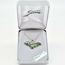 Storrs Wild Pearle Abalone Shell Flying Bat Pendant w/ Silver Tone Necklace image 1