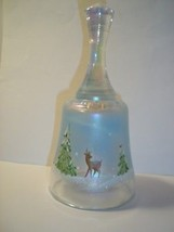 "Fenton Glass WHISPERING WOODS 7"" BELL French Opal Iridized w Deer CHRIST... - $48.02"
