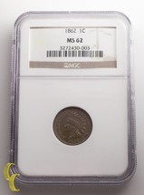 1862 1¢ Indian Cent Graded by NGC as MS-62! Great indian cent - $178.07
