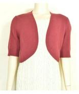 Neiman Marcus sweater SZ M red 100% cashmere  shrug belero cropped short... - $89.09