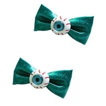 2 GREEN Gillter Bowknot Harajuku Girls' Hair Clips Eye Ball Hair Barrettes