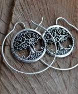 Hoop earrings, tree of life earrings, large hoop earrings, E780 - $13.99