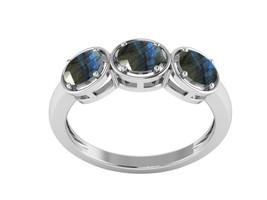 Blue Flash Labradorite Gemstone 925 Sterling Silver Three Stone Stacking... - $18.39