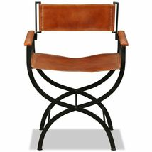 vidaXL 1/2x Folding Chair Genuine Real Leather Kitchen Dinner Dining Room Seat image 6