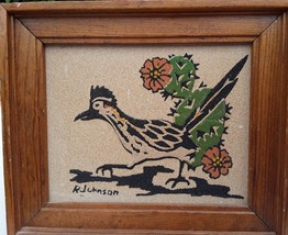 Vintage Sand Art Road Runner Picture by R Johns... - $11.75