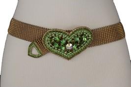 Women Antique Dark Rusty Gold Mesh Metal Dressy Belt Green Love Hear Buc... - $25.47