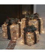 3pc Lighted Brown Grapevine Fur Gift Boxes Pre Lit Outdoor Christmas Dec... - $118.30