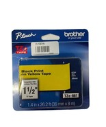 """NEW Genuine Brother P-touch TZe-661 1-1/2"""" Black Print on Yellow Tape TZ661 - $19.79"""