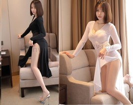 Sexy Women High Cut Low V Neck Ice Silk Smooth Transparent Long Sleeves Dress - $17.09