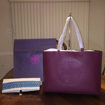 NWT TORY BURCH PERFORATED-LOGO TOTE IN DARK MERLOT/TORY NAVY - $364.29