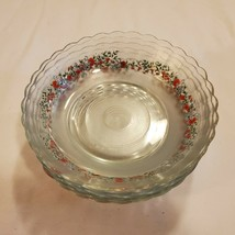 Vintage KIM Glass Soup Salad Bowls Frosted and Rose Applique Indonesia O... - $29.02