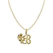 14k Yellow Gold Cherub and Cursive Initial Letter 'B' Pendant 1.2mm Rolo... - $198.00+