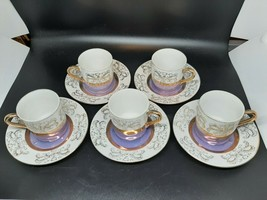 Stirling Japanese demitasse 5 cups and 5 saucers purple/gold /white lust... - $22.00