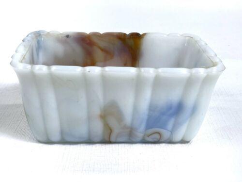 Akro Agate Mini Loaf Pan Scalloped Marbled Slag Milk Glass 1.5 lb Heavy 6x4x2.75 - $16.65