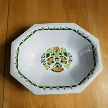 Johnson Brothers Greenfield Oblong Serving Bowl White Green Birds Flowers Mosaic - $8.90