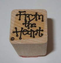 """From The Heart Rubber Stamp Gift Tag Wood Mounted 1"""" Square #2 - $3.55"""