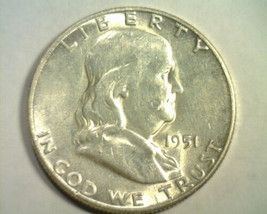 1951-S FRANKLIN HALF DOLLAR ABOUT UNCIRCULATED AU NICE ORIGINAL COINBOBS... - $16.00