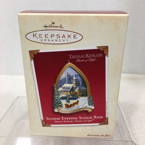 Primary image for 2002 Sunday Evening Sleigh Ride Hallmark Christmas Tree Ornament MIB PriceTag H8