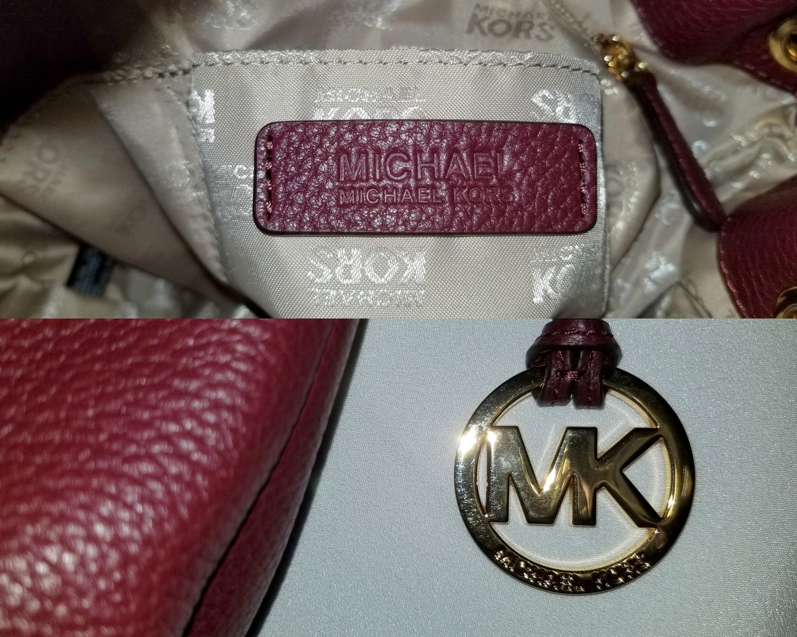 Michael Kors Bucket Shoulder Frankie Oxblood Burgundy Leather Cross Body Bag image 7