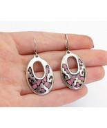 MEXICO 925 Silver - Vintage Rhodochrosite Mosaic Pattern Dangle Earrings... - $35.55
