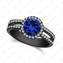 1.75 ct Blue Sapphire & White cz In Halo Engagement Ring 925 sterling silver - £57.52 GBP
