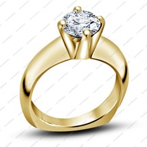 14K Yellow Gold Plated Pure 925 Silver Round Cut White CZ Women's Solitaire Ring - $69.99