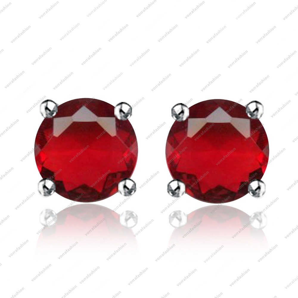 Primary image for 0.25 ct Round Shaped Ruby Stud Earrings in  925 Sterling Silver size 5 6 7 8 9