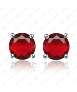 0.25 ct Round Shaped Ruby Stud Earrings in  925 Sterling Silver - £30.00 GBP