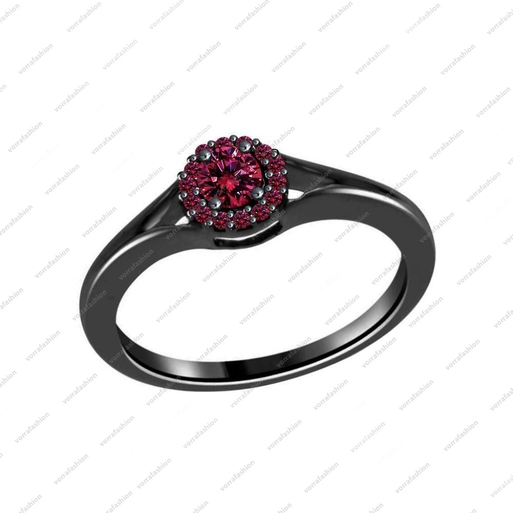 0.20 CT Pink Sapphire Full Black 925 silver Engagement Solitaire w/ Accents Ring