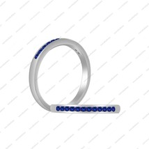 0.19 ct Blue Sapphire White CZ 925 Silver Anniversary Women's Band Ring SZ 5 6 7 - £28.25 GBP