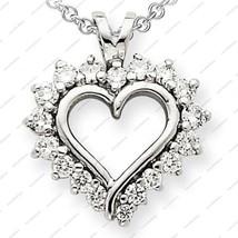 925 Sterling Silver Classy Design Open Heart Style White CZ Pendant W/ 1... - $15.66