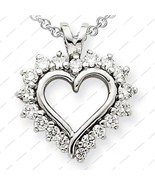 925 Sterling Silver Classy Design Open Heart Style White CZ Pendant W/ 1... - £12.66 GBP