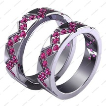 Pink Sapphire Round CZ Full Black Plated Sterling Silver Wedding Band Ring Set 8 - £56.87 GBP