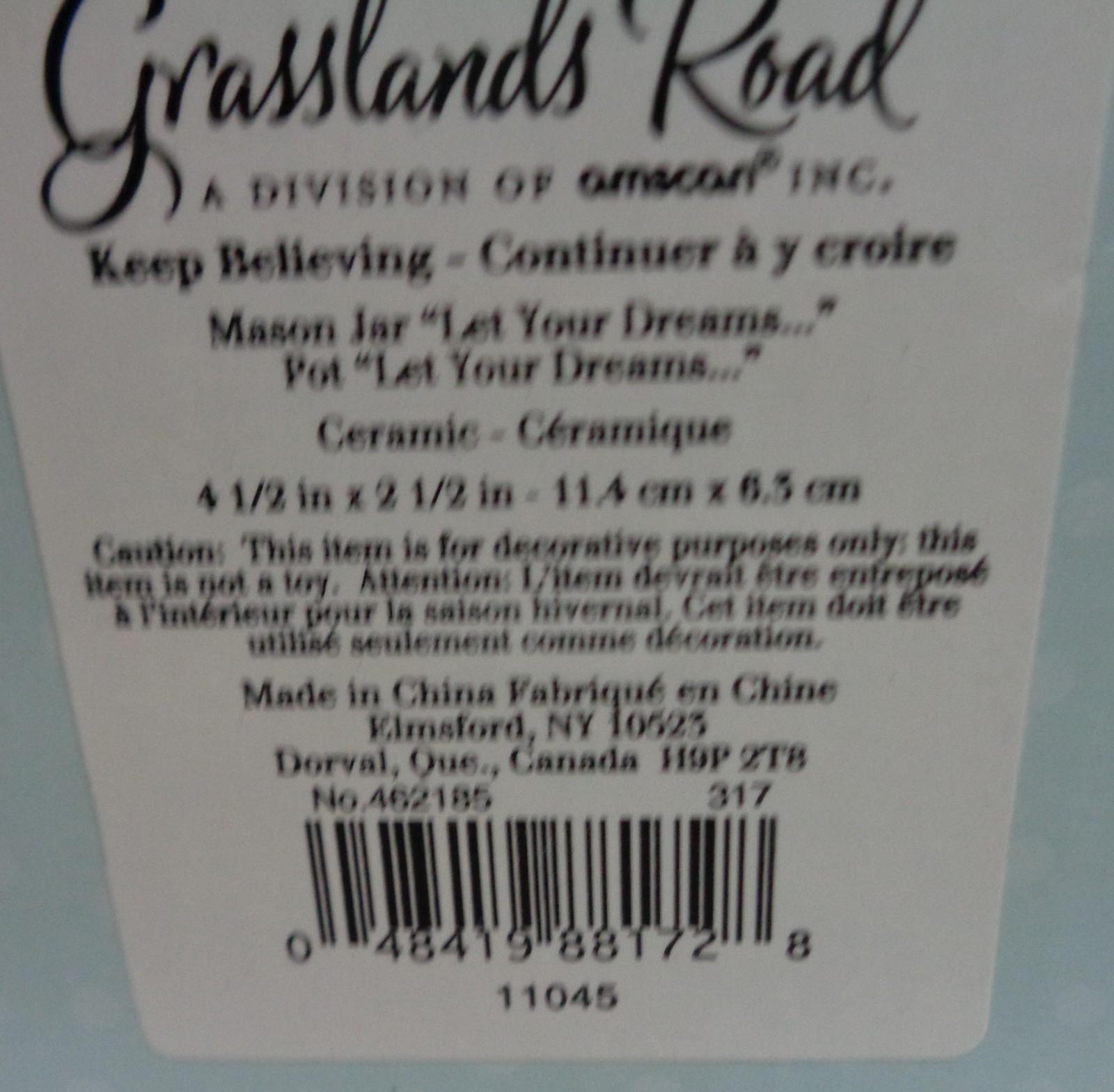 """Decor Mason Jar """"LET YOUR DREAMS BE YOUR NORTH STAR"""" Opaque NIB Grasslands Road"""