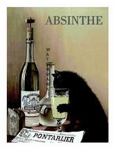 Absinthe Cat  13 x 10 inch Liquor Aperitif Advertising Giclee Canvas Print - $19.95