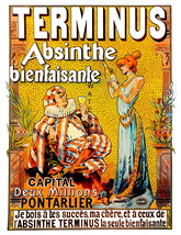 Absinthe Terminus 13 x 10 inch Liquor Aperitif Advertising Giclee Canvas... - $19.95