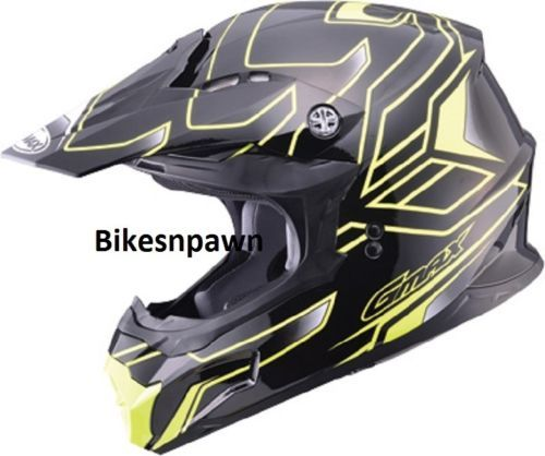 New Black/ Yellow 2XL Adult GMax MX86 Offroad Helmet DOT & ECE 22.05 Approved
