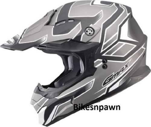 New Silver/Black L Adult GMax MX86 Offroad Helmet DOT & ECE 22.05 Approved