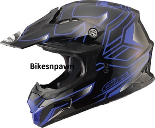 New Black/Blue M Adult GMax MX86 Offroad Helmet DOT & ECE 22.05 Approved
